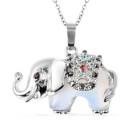 29.50 Ct Opalite and Multi Colour Austrian Crystal Elephant Pendant with Chain in Stainless Steel