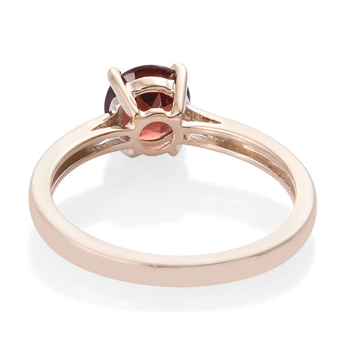 9K Yellow Gold AAA Mozambique Garnet (Rnd) Solitaire Ring 1.000 Ct.