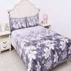 4 Piece Set - Floral Pattern Double Size Comforter (220x225 Cm), Fitted Sheet (140x190+30 Cm) and 2