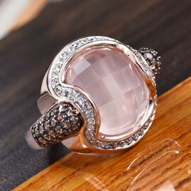 GP Rose Quartz (Rnd), Natural Cambodian Zircon, Brown Zircon and Blue Sapphire Ring in Rose Gold Overlay Sterling Silver 13.25 Ct, Silver wt 7.50 Gms