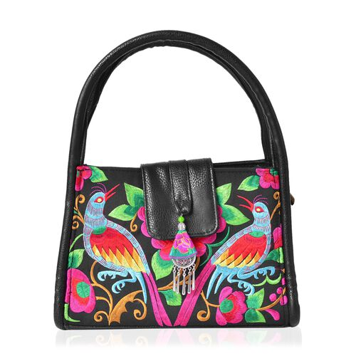 Shanghai Collection Black, Red and Multi Colour Bird and Flower Pattern Chinese Style Tote Bag (Size 28x18.5x10 Cm)