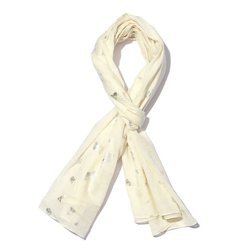 New for Season - 100% Cotton Off White and Silver Colour Butterfly Pattern Scarf (Size 180x110 Cm)