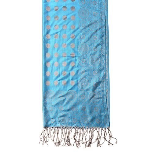 Blue and Golden Colour Scarf with Dot and Small Flower Pattern (Size 180x68 Cm)
