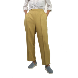 Emma Half Elasticated Comfortable Summer Trousers in Mustard (Size 10) Inside Leg - 25in