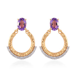 Mashamba Amethyst and Natural Cambodian Zircon Earrings (with Push Back) in 14K Gold Overlay Sterlin