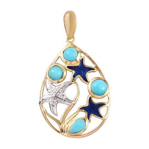 Arizona Sleeping Beauty Turquoise Enamelled Starfish Pendant in Platinum and Yellow Gold Overlay Ste