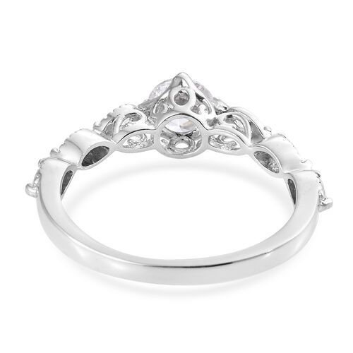 J Francis - Platinum Overlay Sterling Silver (Rnd) Ring Made with SWAROVSKI ZIRCONIA.
