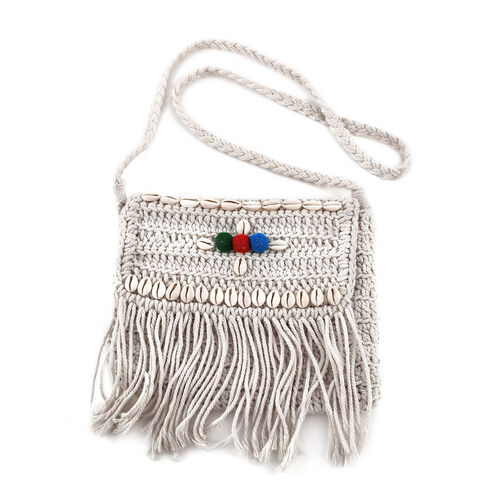 Bali Collection - Handmade Bag with Tassels, Seashell and Shoulder Strap (Size 25x29 Cm) - White
