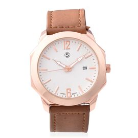 STRADA Japanese Movement Water Resistant Watch in Rose Gold Plated - Coffee