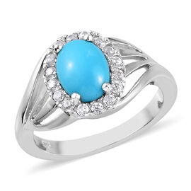 AA Arizona Sleeping Beauty Turquoise (Ovl 8x6mm), Natural Cambodian Zircon Ring in Platinum Overlay