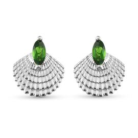 Russian Diopside Fancy Earring in Platinum Overlay Sterling Silver 0.12 ct  0.500  Ct.