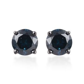 9K White Gold Blue Diamond Stud Earrings (with Push Back) 1.00 Ct.