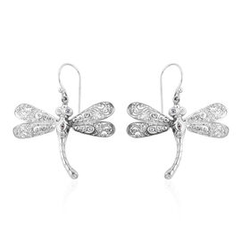 Bali Legacy Collection Natural White Cambodian Zircon (Rnd) Dragonfly Hook Earrings in Sterling Silver 0.810 Ct.