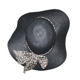 Floppy Sun Hat with Bow Animal Print (57X26 CM ) -Black
