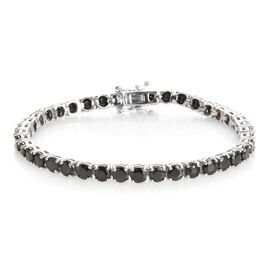 7.25 Ct Shungite Tennis Bracelet in Platinum Plated Sterling Silver 8.71 Grams 7 Inch