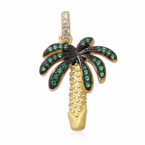 ELANZA AAA Simulated Diamond and Simulated Emerald Palm Tree Pendant in Black Plating, Yellow Gold a