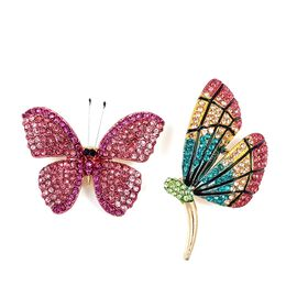 Set of 2 - Multi Color Austrian Crystal (Rnd) Butterfly and Dragonfly Brooch in Gold Tone
