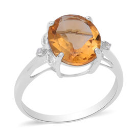 One Time Deal- Citrine (Ovl 12x10mm) and Natural Cambodian Zircon Ring in Rhodium Overlay Sterling S