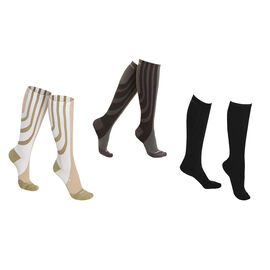 Doorbuster Deal - SANKOM SWITZERLAND Set of 3 - Patent Socks - Grey, Black and White Colour