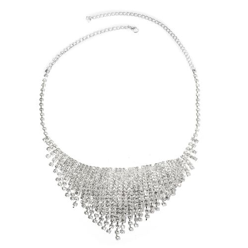 White Austrian Crystal (Rnd) Necklace (Size 16 with 5 Inch Extender) and Earrings (with Push Back) in Silver Tone