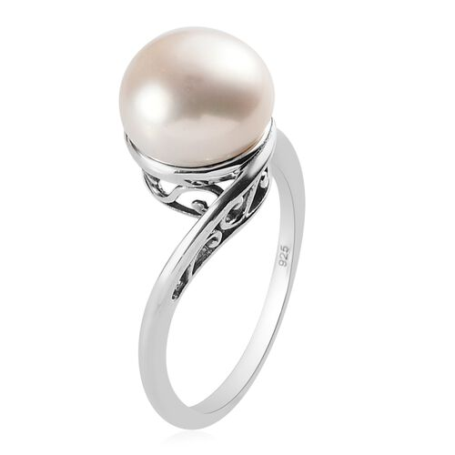 Freshwater Pearl Solitaire Ring in Sterling Silver