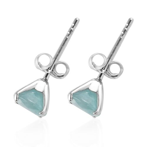 9K White Gold Grandidierite Solitaire Stud Earrings (with Push Back) 1.08 Ct.