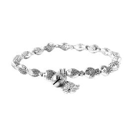 Stretchable Fish Beaded Bracelet with Charm in Antique Silver Plated 6.5 Inch