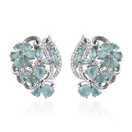 Grandidierite and Natural Cambodian Zircon Floral Cluster Earrings (with Push Back) in Platinum Over
