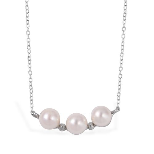 One Time Deal-Japanese Akoya Pearl (Rnd 5-6 mm) Necklace (Size 18) in Platinum Overlay Sterling Silver