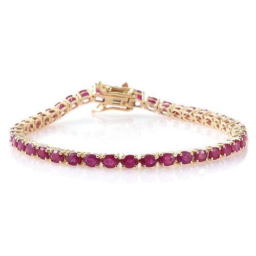 9K Yellow Gold AAA Burmese Ruby (Ovl) Bracelet (Size 7) 7.500 Ct.