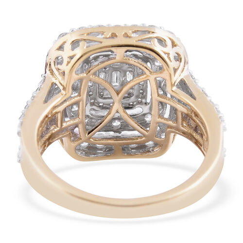 ILIANA 18K Yellow Gold IGI Certified Diamond (SI/G-H) Cluster Ring 2.00 Ct., Gold wt 6.00 Gms