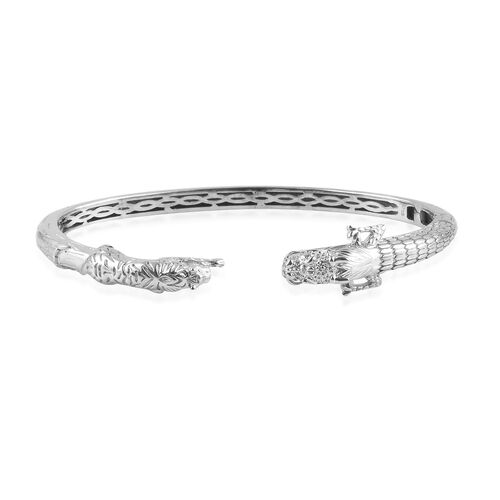 Dragon and Tiger Head Cuff Bangle in Platinum Plated 7.5 Inch