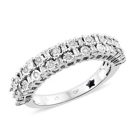 GP 0.52 Ct Diamond and Kanchanaburi Blue Sapphire Half Eternity Band Ring in Platinum Plated Silver