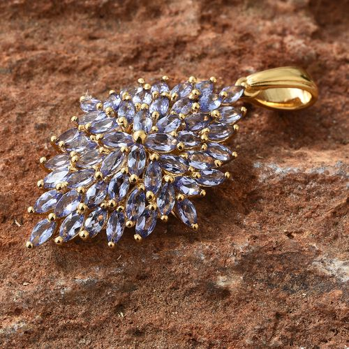 Tanzanite (Mrq) Pendant in 14K Gold Overlay Sterling Silver 4.000 Ct.