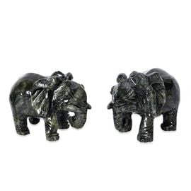 Set of 2 - Handcrafted Jade Decorative Elephant Figurine (Size 7.5x11 Cm) - 5.9KG In Each Elephant -