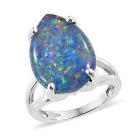 Very Rare Size-Australian Boulder Opal  (Pear 18x13 mm) Ring in Platinum Overlay Sterling Silver, Silver wt 6.27 Gms.