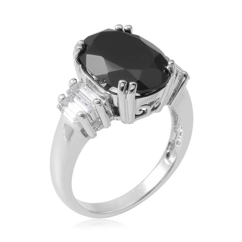 Boi Ploi Black Spinel (Ovl 14x10 mm), White Topaz Ring in Rhodium Overlay Sterling Silver 7.660 Ct.