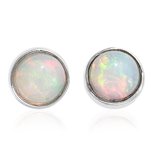 1 Carat Ethiopian Welo Opal (Rnd) Silver Stud Earrings (with Push Back) in Platinum Overlay