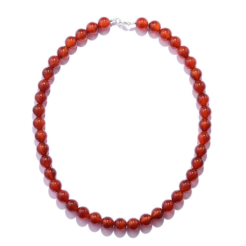 Extremely Rare Carnelian Beads Necklace (Size 18) in Rhodium Overlay Sterling Silver 309.000 Ct
