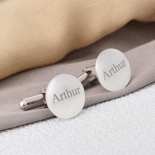 Personalise Engraved Men Round Cufflinks in Silver