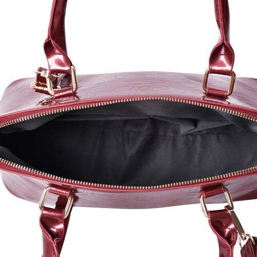 3 Piece Set - Rose Floral Embossed Tote Bag, Clutch and Card Bag with Detachable Shoulder Strap - Burgundy