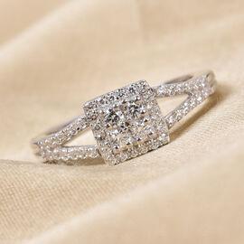 J Francis - Platinum Overlay Sterling Silver Ring Made with SWAROVSKI ZIRCONIA