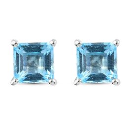 Blue Topaz Solitaire Stud Push Post Earring in Platinum Overlay Sterling Silver 2.07 ct  2.074  Ct.