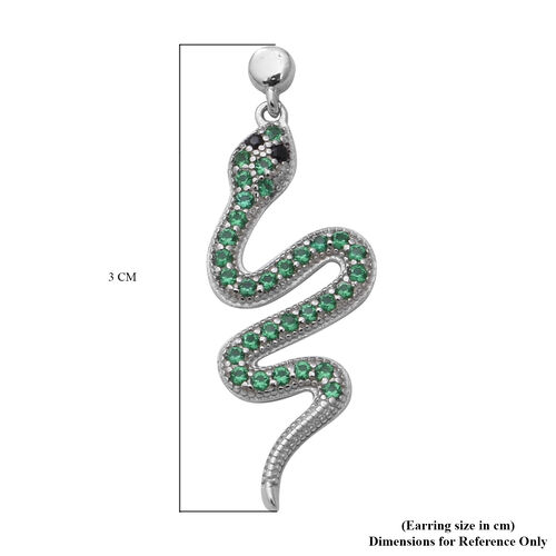 ELANZA Serpent Collection- Simulated Black Diamond and Simulated Peridot Serpent Earrings (with Push Back) in Rhodium Overlay Sterling Silver