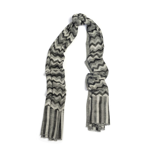 100% Cashmere Wool Black, Grey and White Colour Chevron Pattern Scarf (Size 180X70 Cm)