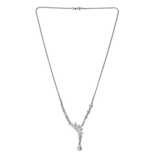 J Francis - Platinum Overlay Sterling Silver (Pear) Necklace (Size 20) Made with SWAROVSKI ZIRCONIA , Silver wt 9.30 Gms.