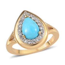 1.75 Ct AAA Arizona Sleeping Beauty Turquoise and Zircon Halo Ring in Gold Plated Sterling Silver