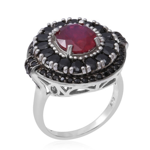 One Time Deal- African Ruby (Ovl), Boi Ploi Black Spinel Ring in Rhodium Overlay Sterling Silver 9.73 Ct, Silver wt 8.29 Gms