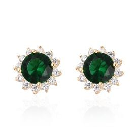 One Time Deal- Simulated Russian Diopside (Rnd), Simulated Diamond Stud Earrings (with Push Back) in Yellow Gold Overlay Sterling Silver