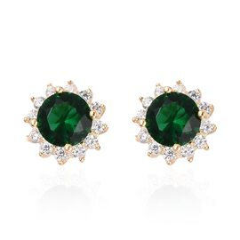 Simulated Russian Diopside (Rnd), Simulated Diamond Stud Earrings (with Push Back) in Yellow Gold Ov